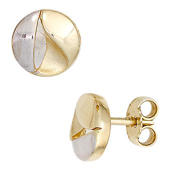 333 gold yellow gold part rhodium-plated earrings boutons partially frosted gold earrings