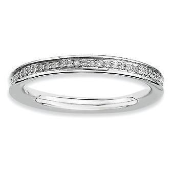 925 Sterling Silver Prong set Rhodium placcato Espressioni impilabili e diamanti gioielli anello lucido per le donne -