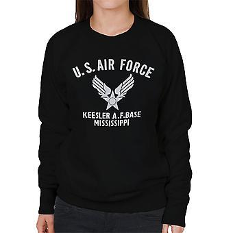 US Airforce Keesler AF Base Mississippi White Text Women's Sweatshirt