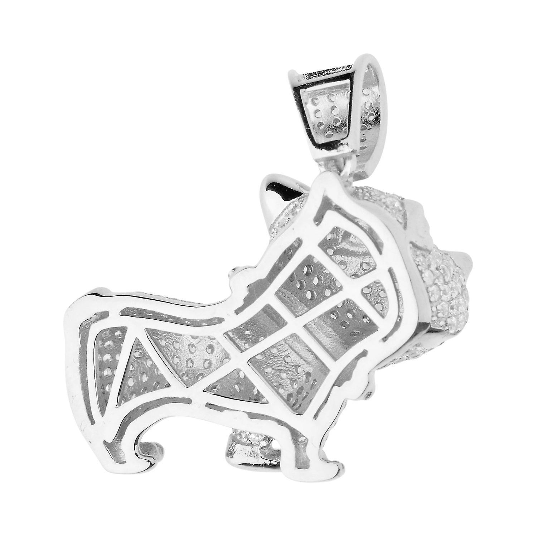 Premium Bling - 925 Sterling Silber 3D Hund Anhänger