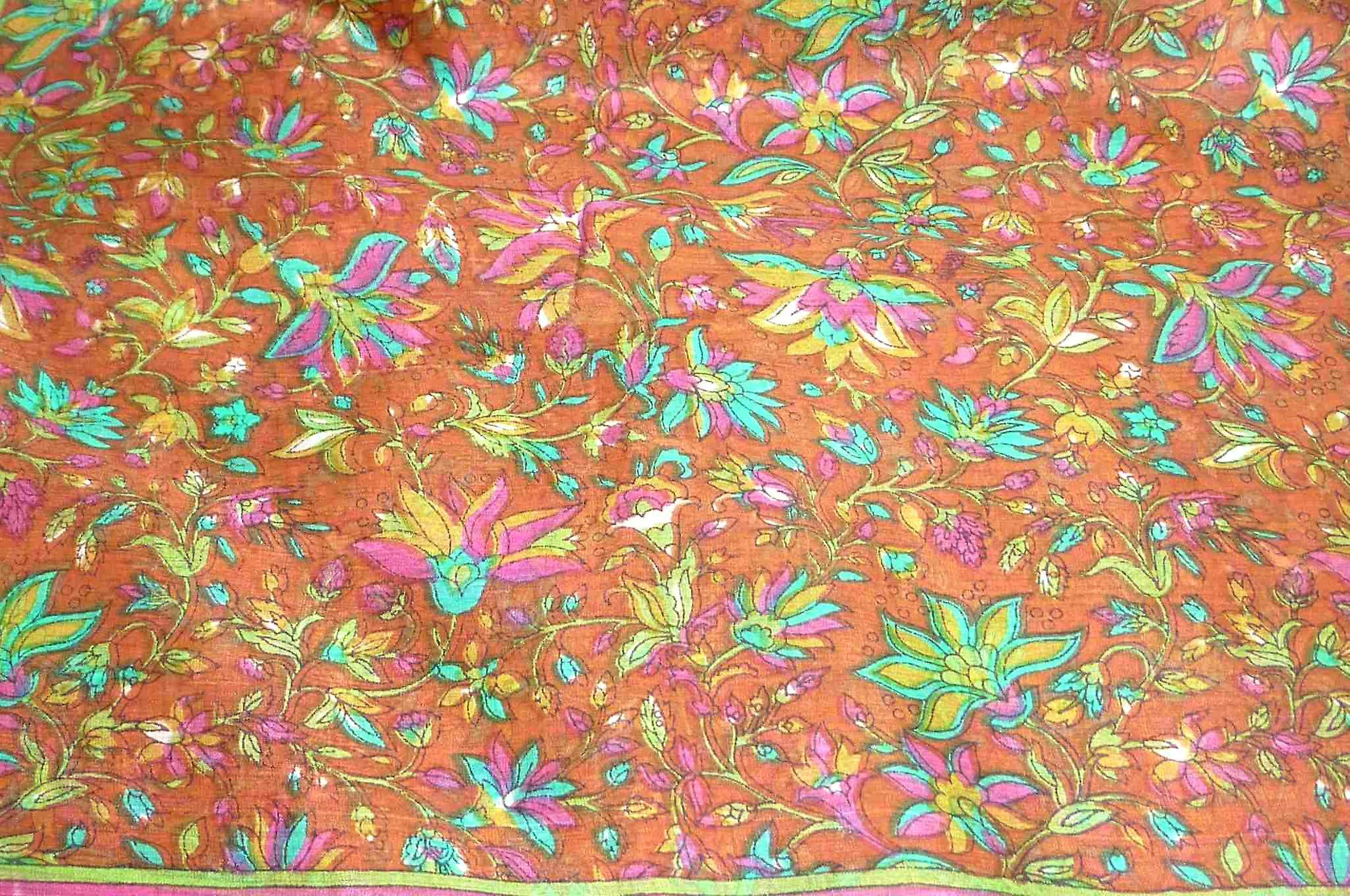 Mulberry Silk Traditional Long Scarf Wagh Copper by Pashmina & Silk