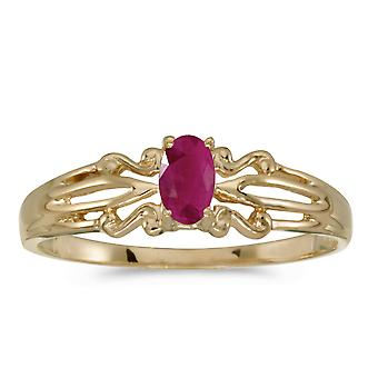 LXR 10k Yellow Gold Oval Ruby Ring 0.18 ct