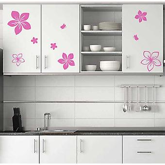 Kitchen Cupboard Flowers And Butterflies Decals