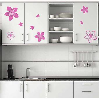Keuken kast bloemen en vlinders Decals