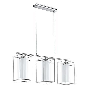 Eglo - vidro triplo Loncino 1 & Chrome emoldurado pingente EG94378