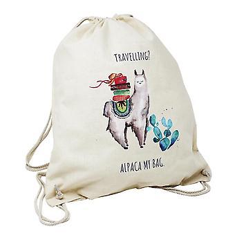 Alpaka Turnbeutel Alpaca My Bag naturfarben, bedruckt, aus 100 %  Baumwolle, im Polybeutel.