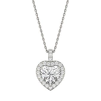 14K White Gold Moissanite by Charles & Colvard 8mm Heart Pendant Necklace, 2.13cttw DEW