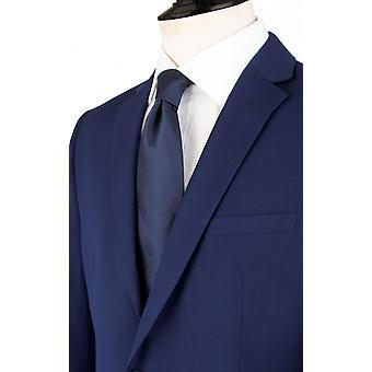 Dobell Mens dunkel blauen Anzugjacke zugeschnitten Fit Kerbe Revers