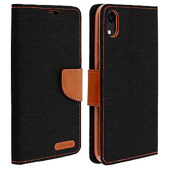 Canvas style fabric Flip wallet case for Apple iPhone XR - Black