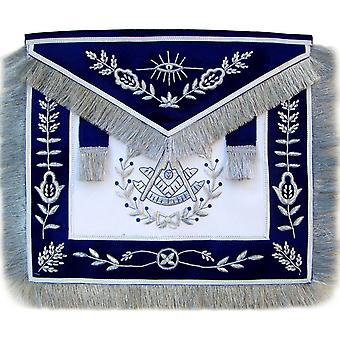 Masonic Blue Past Master Apron Bullion Hand Embroidered Vine Work-Satin