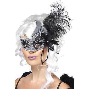 Maska karneval tmavý anděl se stuhami a peřím