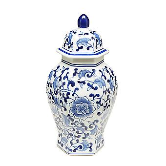 14 Inch Tall Blue And White Floral Hexagonal Ginger Jar