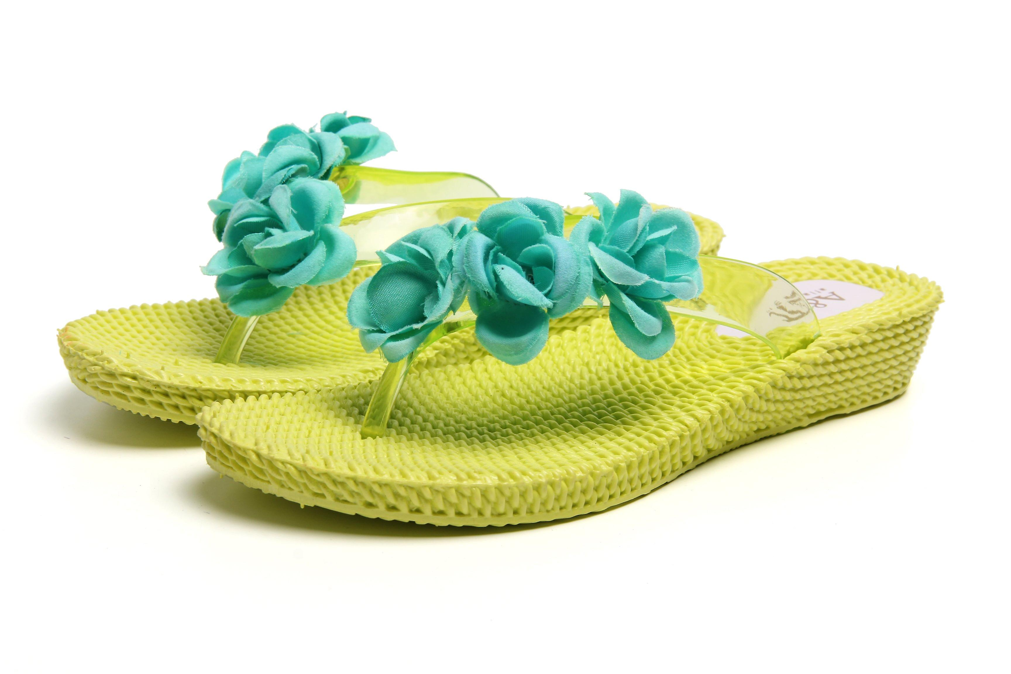 Three flowers yellow-aquagreen wedge flip flops