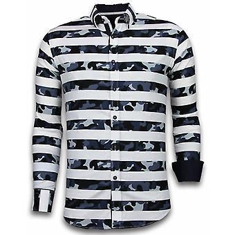 Italian shirts-Slim Fit shirt-Blouse Big Stripe Camouflage Pattern-White