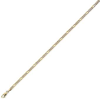 Jewelco London 9ct Yellow Gold - Rhodium 3-1 Pave Look Figaro Pendant Chain Necklace - Jauge 3mm
