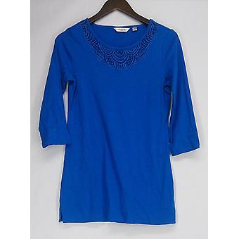 Liz Claiborne York Top XXS 3/4 Sleeve w/ Crochet Neck Tunic Blue A256402