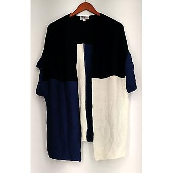OSO Casuals Sweater Color Block Short Sleeve Oversized Cardigan Blue A431783
