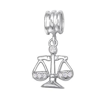 Libra Zodiac Sign - 925 Sterling Silver Jewelled Beads - W29532X