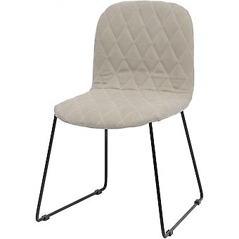 Libra Furniture Cream Quilted Dining Chair With Black Metal Legs