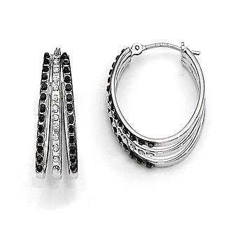 14k White Gold Polished Diamond Fascination B W Dia. Triple Oval Hinged Earrings ZZZZs ri Measures 22x1 Jewelry Gifts fo