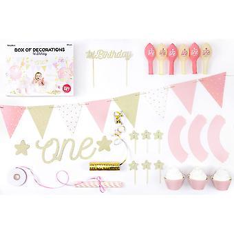 Komplett första 1st födelsedag låda med dekorationer-Pink & guld Bunting halmstrån banner