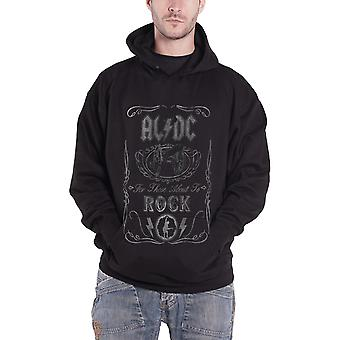 AC/DC Hoodie About to Rock Cannon band logo new Official Mens Black Pullover