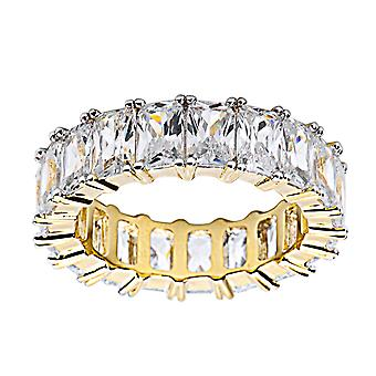 Sterling 925 Silver Micro Pave Ring - Baguette CZ gold