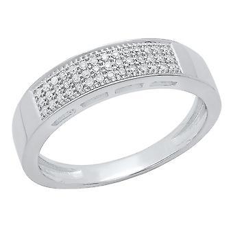 Dazzlingrock Collection 0.15 Carat (ctw) 10K Round White Diamond Men's Micro Pave Wedding Band, White Gold