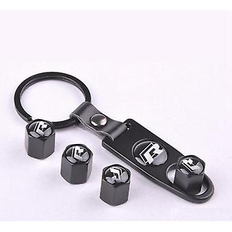 Set of 4 Black Anti-Theft Car Tyre Air Dust Valve Stem Cap With Keyring Locking Tool For VW Volkswagen