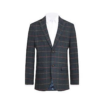 Dobell Mens Blue Tweed Jacket Regular Fit Notch Lapel Windowpane Check