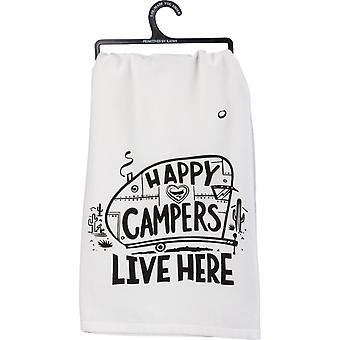 Happy Campers Live Here Printed Kitchen Dish Towel Cotton