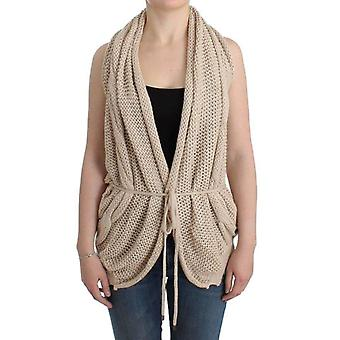 Beige sleeveless knitted cardigan -- SIG1098437