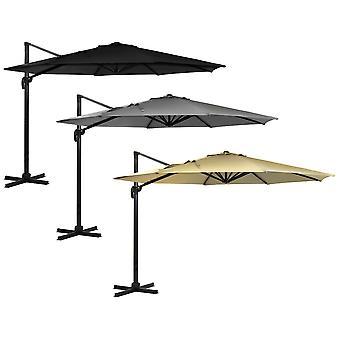 Charles Bentley hängande Banana paraply parasoll-lätt aluminium ram i ljusgrå-3.5 M XL