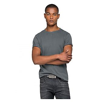 Replay Jeans Replay Raw Cut Cotton T Shirt Cold Grey