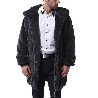 Allthemen Men's Solid Plüsch dick warm Kapuzen Casual Reißverschluss Mantel