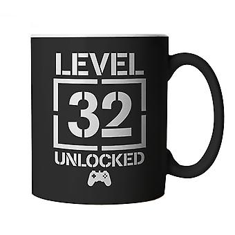 Level 32 Unlocked Video Game Birthday, Mug | Age Related Year Birthday Novelty Gift Present | 60s 70s 80s 90s Dad Grandad Son Mum Daughter | Gaming Cup Gift
