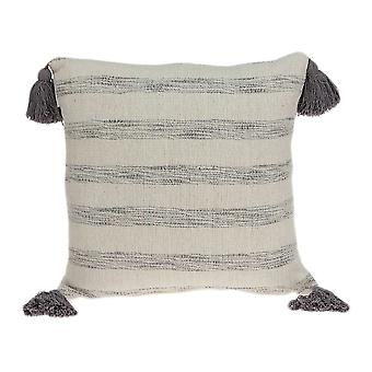 "18"" x 7"" x 18"" Beige Printed Striped Tassel Pillow Cover With Down Insert"