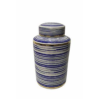 Beguiling Ceramic Covered Jar, Blue And White