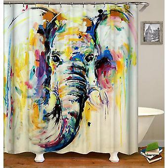 Fargerik maleri elefant dusj Curtain