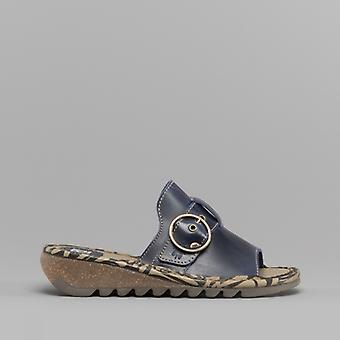 Fly London Tani807fly Ladies Leather Mule Sandals Blue