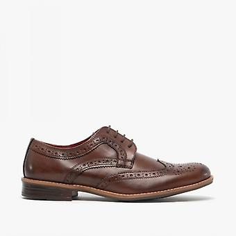 Silver Street London Milton Mens Leather Brogue Shoes Brown