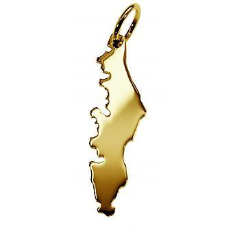 Hänge karta kedja hänge i guldgult-guld i form av VANCOUVER-ön