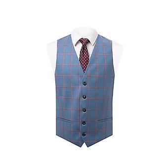 Holland & Sherry Mens Blue Waistcoat Regular Fit 100% Wool Windowpane Check
