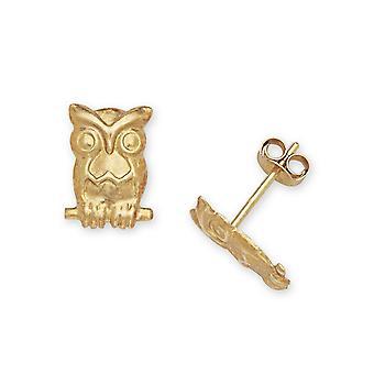 14k Gelb Gold Eule Stempel für Jungen oder Mädchen Ohrringe - Maßnahmen 10x7mm