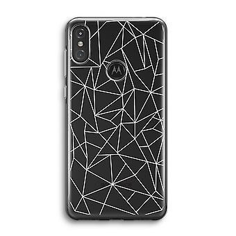 Motorola Moto One Power (P30 Note) Transparent Case (Soft) - Lignes géométriques blanches