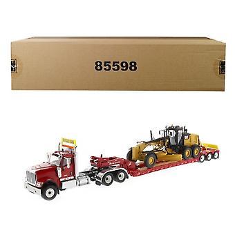 International HX520 Tandem Tractor Red avec XL 120 Lowboy Trailer et CAT Caterpillar 12M3 Motor Grader Set of 2 pieces 1/50 Diecast Models by Diecast Masters
