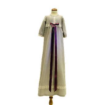 Dopklänning Grace Of Sweden, Lång ärm Och Ljung-rosa Bred Rosett