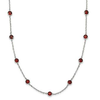 925 Sterling Silver Polished Red CZ Cubic Zirconia Simulated Diamond Necklace 18 Inch Spring Ring Jewelry Gifts for Wome