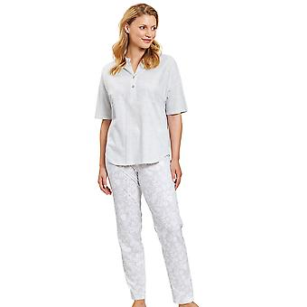 Rösch 1203008-16420 Frauen's Smart Casual Flower Stripe grau Floral Pyjama Set