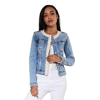 Women Denim Jeans Jacket Light Coat Glitter Pearls Transition Vintage